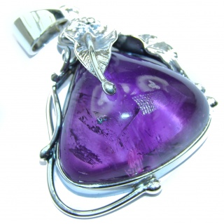 Purple Queen Natural 72 ct Amethyst .925 Sterling Silver handmade Pendant