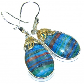 Vintage Design Rainbow Calsilica .925 Sterling Silver handmade earrings