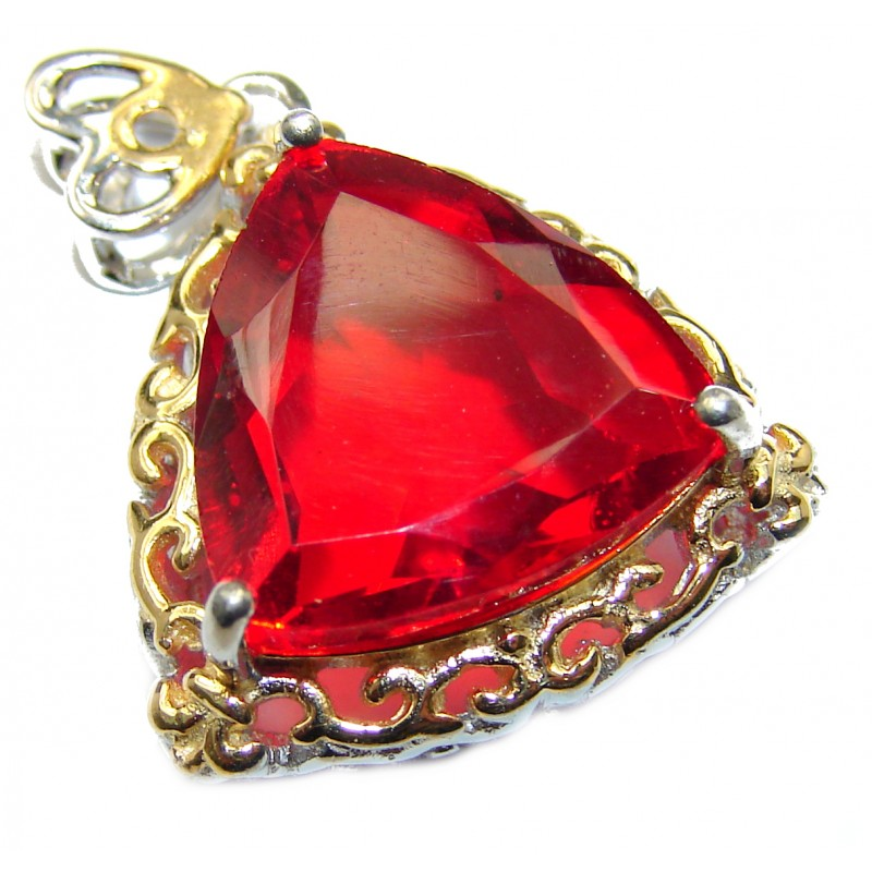 Volcanic Red Helenite two tones .925 Sterling Silver handcrafted Pendant