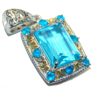 Natural Swiss Blue Topaz 14K Gold over .925 Sterling Silver handmade Pendant