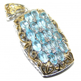 Beautiful genuine Swiss Blue Topaz 14K Gold over .925 Sterling Silver handcrafted Pendant