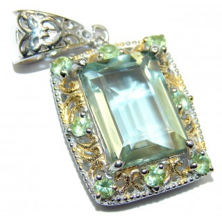 Natural Green Amethyst 14K Gold over .925 Sterling Silver handmade Pendant