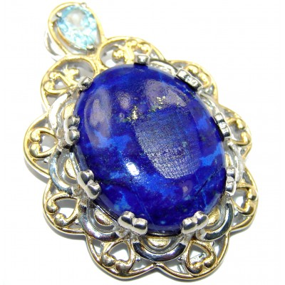 Lovely Lily Lapis Lazuli 14K Gold over .925 Sterling Silver handcrafted Pendant