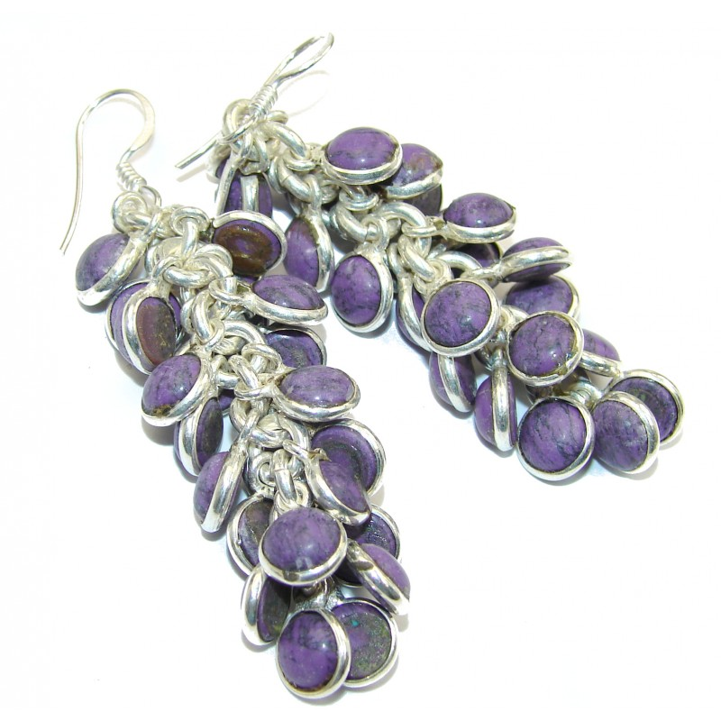 Incredible lab. Sugalite .925 Sterling Silver Cha- Cha earrings