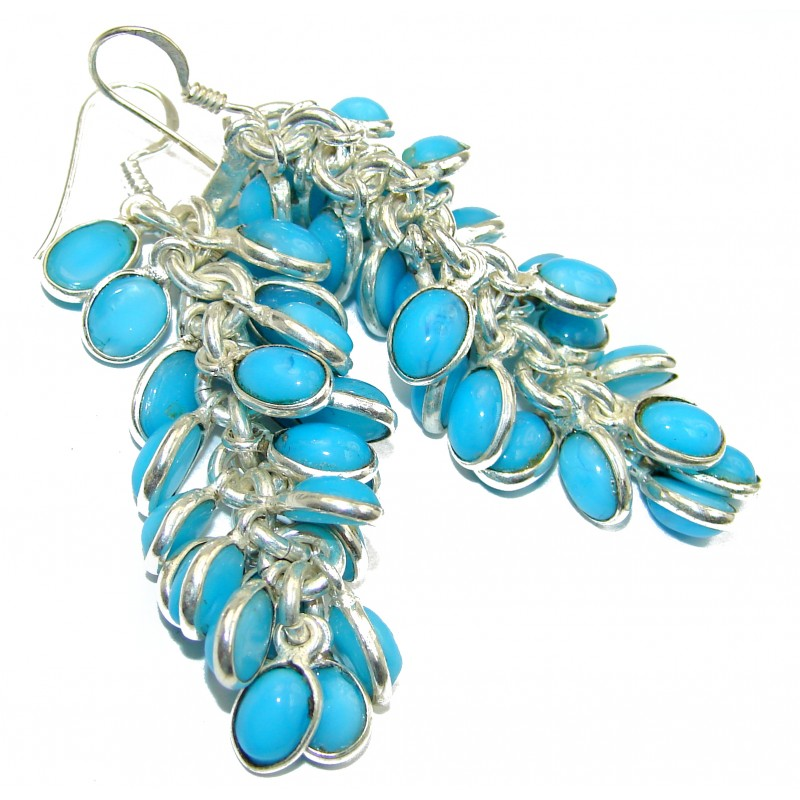 Incredible lab. Turquoise .925 Sterling Silver Cha- Cha earrings
