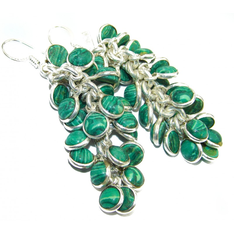 Incredible lab. Malachite .925 Sterling Silver Cha- Cha earrings