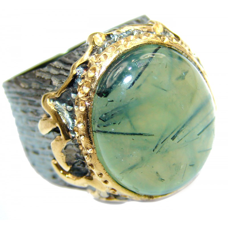 Chunky Natural Moss Prehnite 14K Gold over .925 Sterling Silver handmade ring s. 7