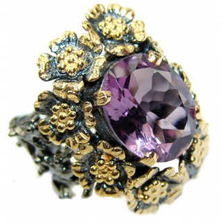 Spectacular 35ct genuine Amethyst .925 Sterling Silver handcrafted Ring size 7 1/4