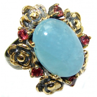 Antique Design Blue Aquamarine 14K Gold over .925 Sterling Silver handmade ring s. 8