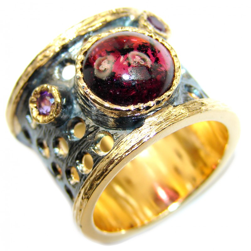 Genuine 28 ct Garnet 14ct Gold over .925 Sterling Silver handmade Cocktail Ring s. 7 adjustable