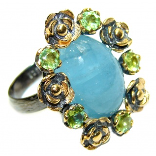 Genuine Aquamarine 14K Gold over .925 Sterling Silver handmade Cocktail Ring s. 7 adjustable