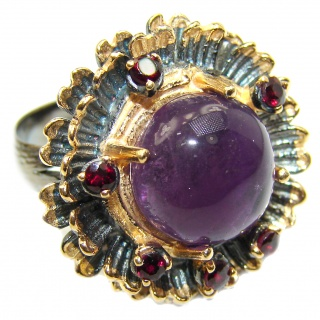 Spectacular 20ct genuine Amethyst .925 Sterling Silver handcrafted Ring size 7 adjustable