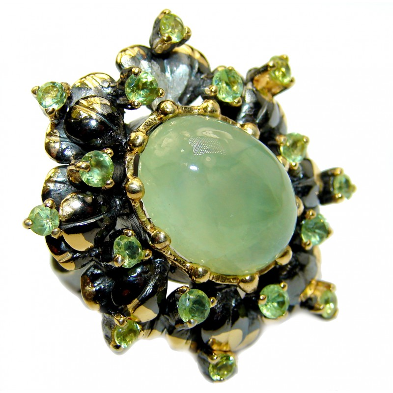 Chunky Natural Moss Prehnite Peridot 14K Gold over .925 Sterling Silver handmade ring s. 7
