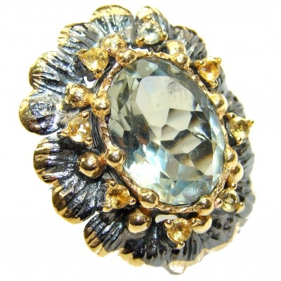 Vintage Design Green Amethyst 14K Gold over .925 Sterling Silver handmade Cocktail Ring s. 7