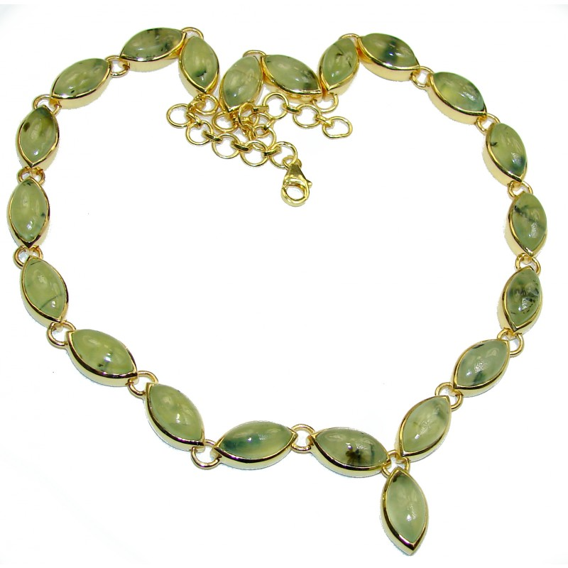 Great Masterpiece genuine Moss Prehnite 14K Gold over .925 Sterling Silver handmade necklace