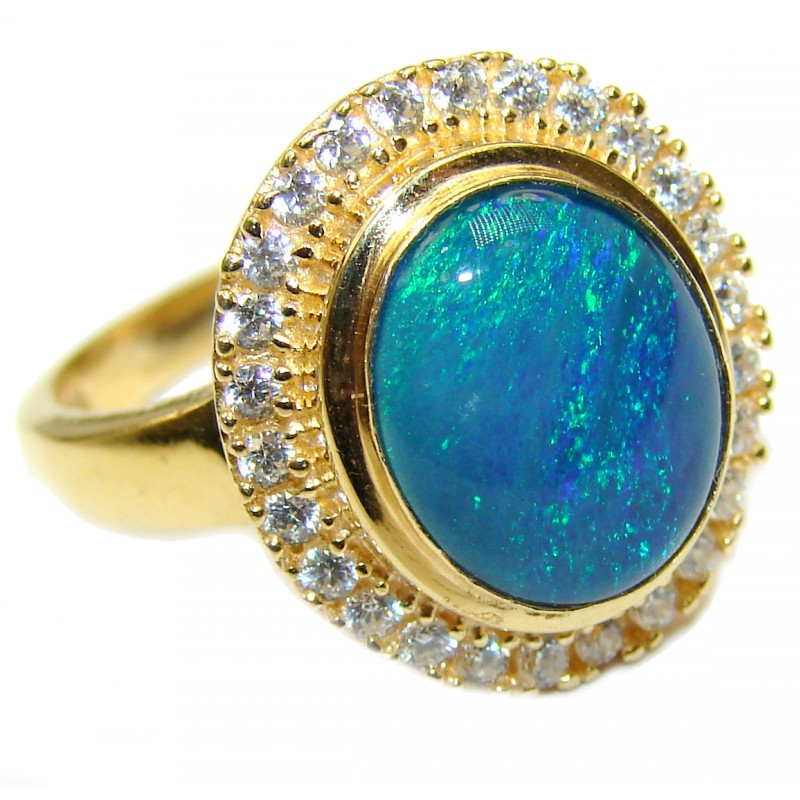 Australian Doublet Opal 14K Gold over .925 Sterling Silver handcrafted ring size 7 1/4
