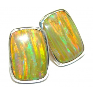 Luxury Japanese Fire Opal .925 Sterling Silver handmade earrings
