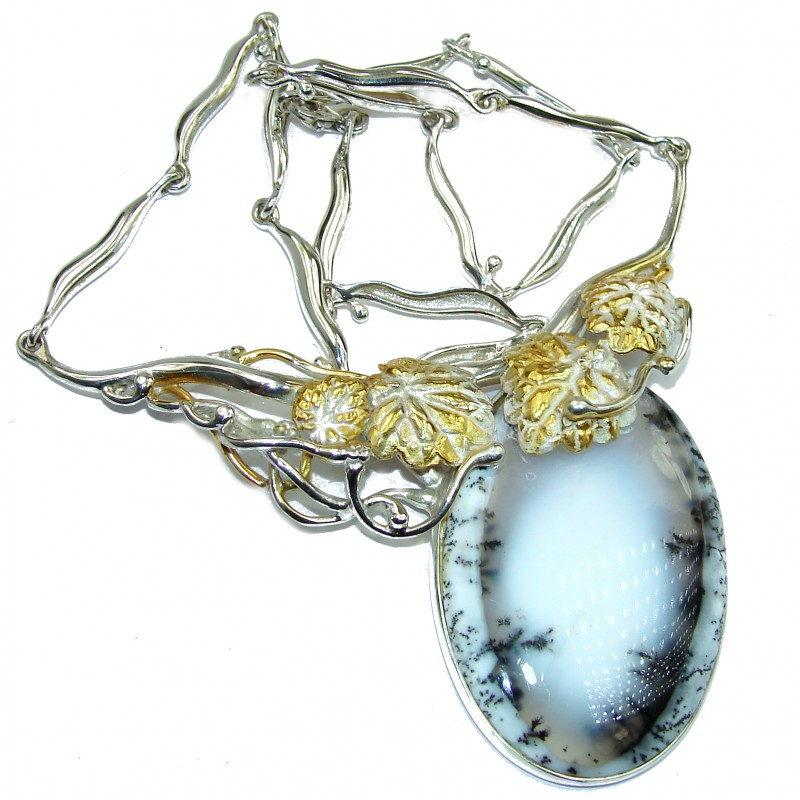 Oversized genuine Dendritic Agate two tones .925 Sterling Silver handcrafted necklace