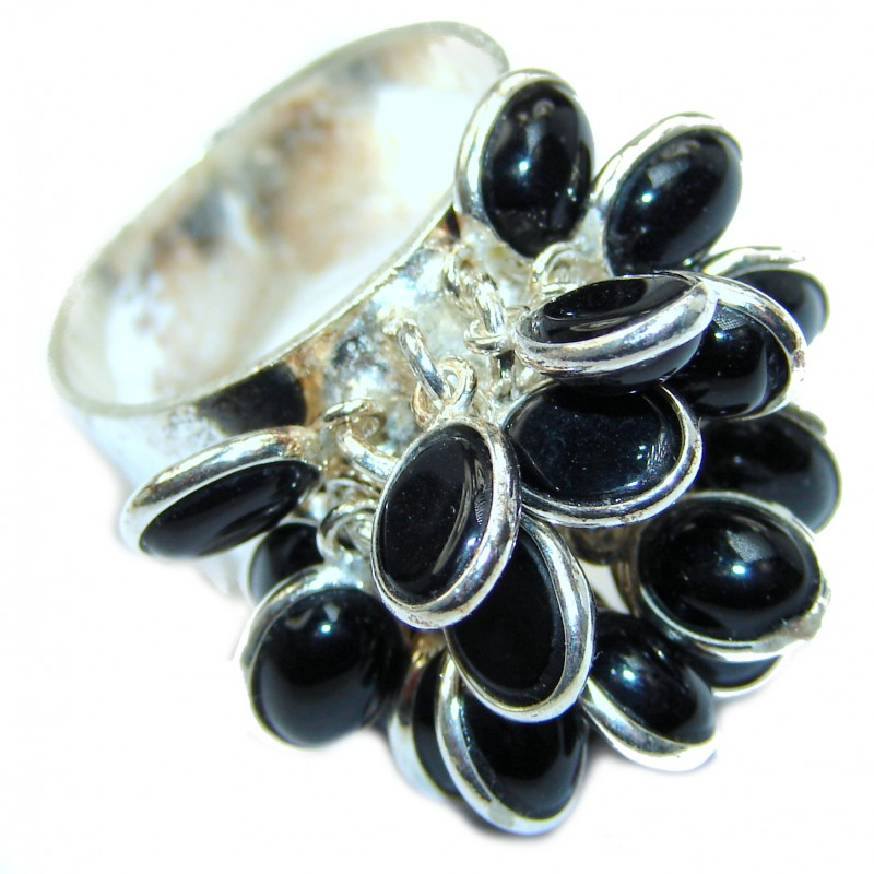 Cha- Cha Sublime quality Onyx .925 Sterling Silver handcrafted ring size 8