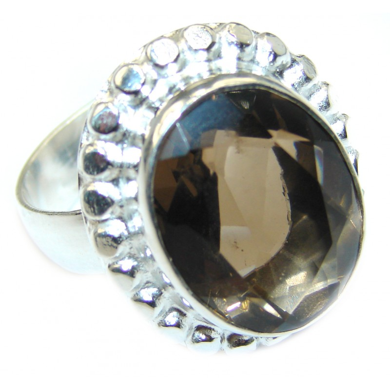 Bold Champagne Smoky Topaz .925 Sterling Silver Ring size 10