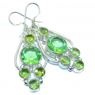 Perfect green Quartz .925 Sterling Silver handmade earrings