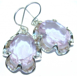 Pastel Pink Quartz .925 Sterling Silver handcrafted earrings