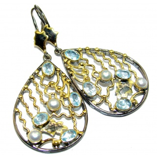 Large Impressive genuine Swiss Blue Topaz 14k Gold over .925 Sterling Silver handmade earrings
