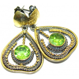 Authentic Peridot 14K Gold over .925 Sterling Silver handmade earrings
