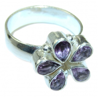 Spectacular genuine Amethyst .925 Sterling Silver handcrafted Ring size 8 1/4
