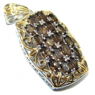 Beautiful genuine Smoky Topaz 14K Gold over .925 Sterling Silver handcrafted Pendant