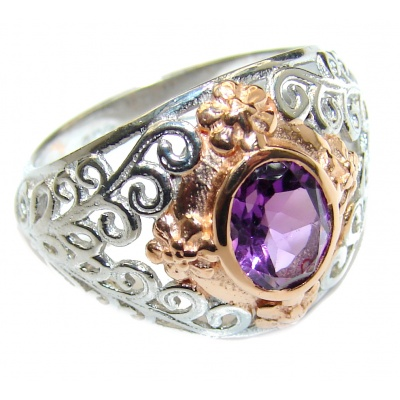Pink Amethyst oxidized .925 Sterling Silver handmade ring size 7