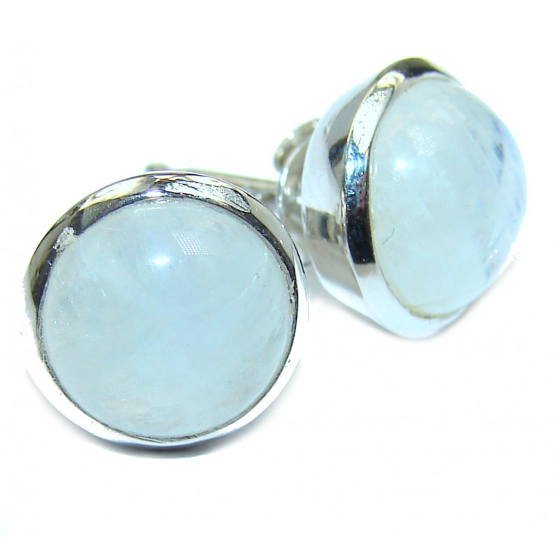 Genuine Fire Moonstone 10 mm wide .925 Sterling Silver handcrafted Earrings
