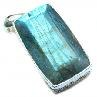 Huge Baguette cut 88ct Fire Labradorite 14K Gold over .925 Sterling Silver handmade Pendant