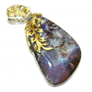 Authentic Australian Boulder Opal 14k Gold over .925 Sterling Silver handmade Pendant