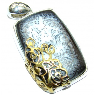 Perfect quality Dendritic Agate 14ct Gold over .925 Sterling Silver handmade Pendant