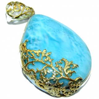 Large Perfectly Blue Caribbean Larimar 14K Gold over .925 Sterling Silver handmade pendant