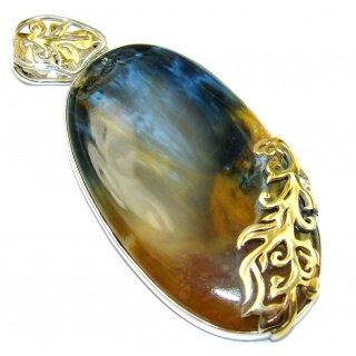 Genuine Silky Black Pietersite 14K Gold over .925 Sterling Silver handmade pendant