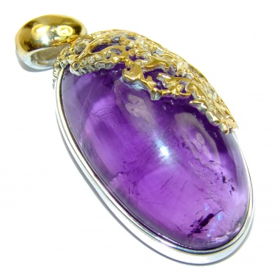Her Majesty Natural 70ct Amethyst 14K Gold over .925 Sterling Silver handmade Pendant