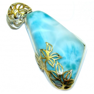 Huge Perfectly Blue Caribbean Larimar 14K Gold over .925 Sterling Silver handmade pendant