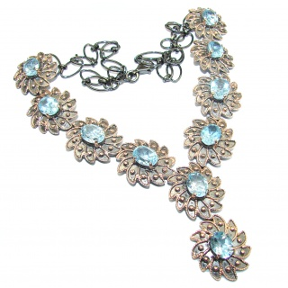 Rich Byzantine Design Genuine Swiss Blue Topaz Gold over .925 Sterling Silver handmade necklace