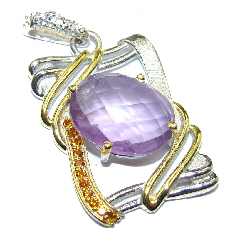 Natural Amethyst 14K Gold over .925 Sterling Silver handmade Pendant