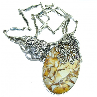 Huge Aura Of Beauty Australian Brecciated Mookiate .925 Sterling Silver handcrafted necklace