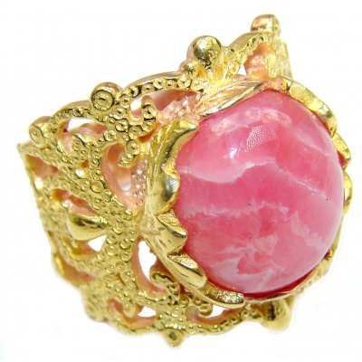Argentinian Rhodochrosite 14K Gold over .925 Sterling Silver handmade ring size 7