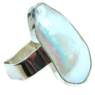 Mother Design Mother Of Pearl .925 Sterling Silver Ring s. 7 1/2