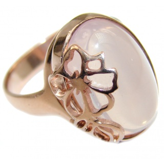 Sweet Candy Rose Quartz Rose Gold over .925 Sterling Silver handcrafted ring s. 8