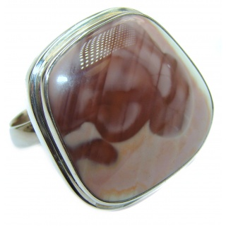 Genuine Imperial Jasper .925 Sterling Silver handcrafted ring s. 8 adjustable