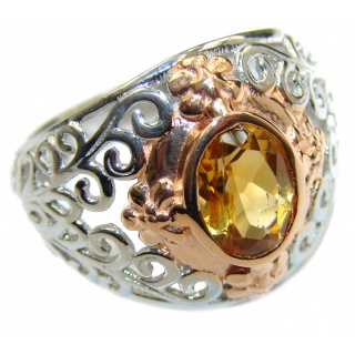 Faceted Citrine oxidized .925 Sterling Silver handmade ring size 7