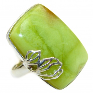 Natural Beauty Green Peruvian Opal .925 Sterling Silver ring s. 7 3/4