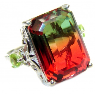 HUGE Top Quality Magic Volcanic Pink Tourmaline Topaz .925 Sterling Silver handcrafted Ring s. 8 1/2
