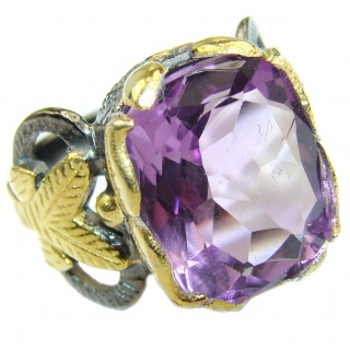 Spectacular genuine Amethyst 14K Gold over .925 Sterling Silver handcrafted Ring size 6